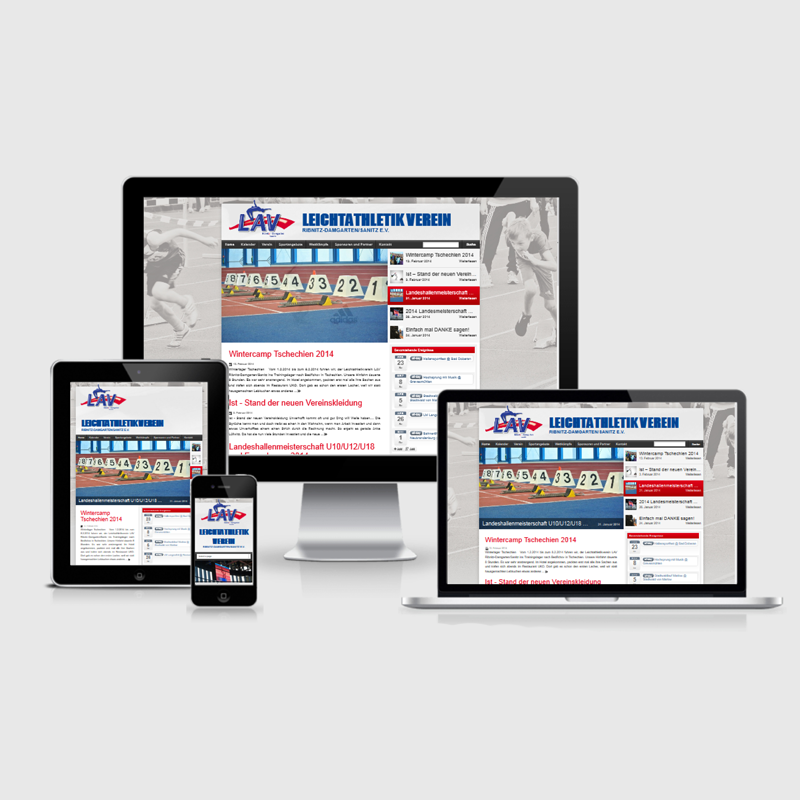 Website Webdesign Sportverein LAV Ribnitz-Damgarten Sanitz Grafikstudio Rostock