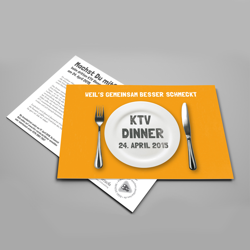 Design Veranstaltung Event Grafikdesign KTV Dinner 2015 in Rostock Grafikstudio Rostock