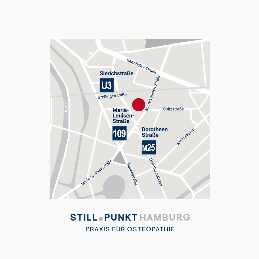 Lageplan farblich abgestimmt zum Corporate Design der Praixis Stillpunkt Hamburg Grafikdesign Grafikstudio Rostock