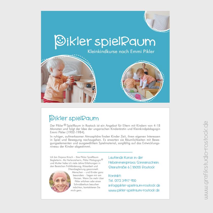 Design Grafikdesign Image Flyer als Postkarte Grafikstudio Rostock für Pikler SpielRaum Rostock
