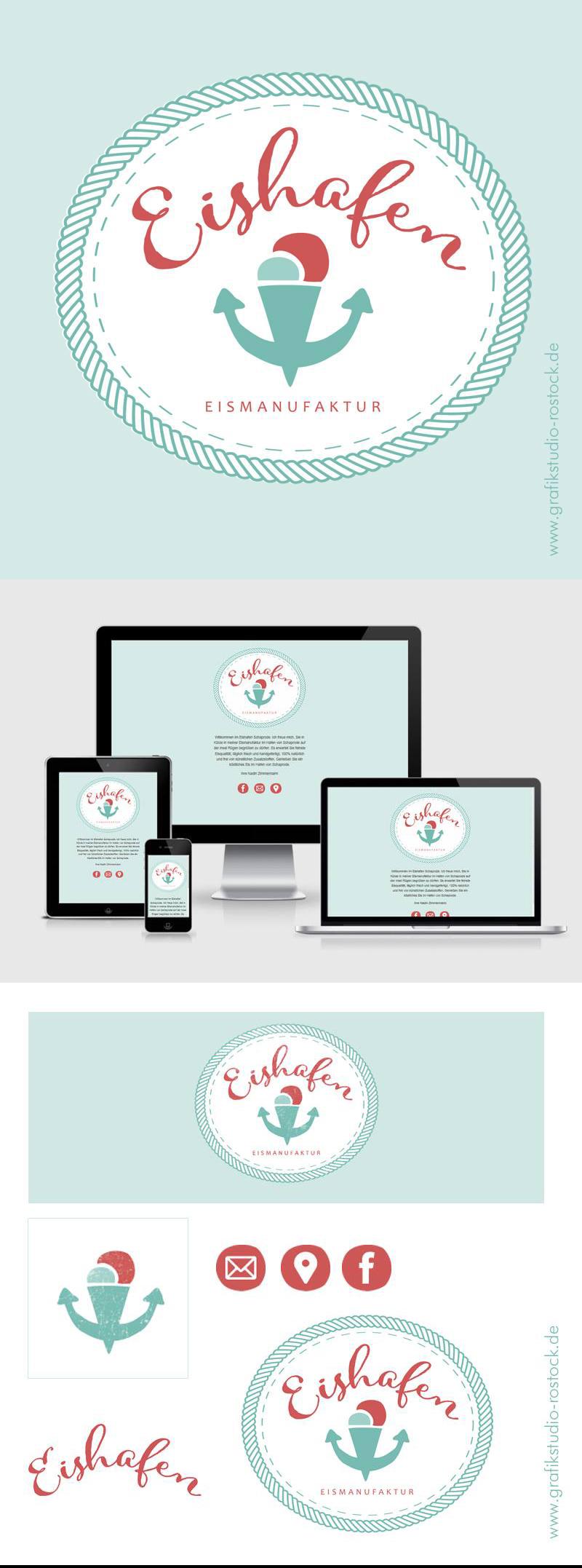 Logo Corporate Design Eisdiele Eishafen Schaprode auf Rügen Grafikdesign Grafikstudio Rostock